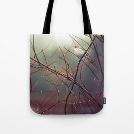 Bird and Red Branches Tote Bag