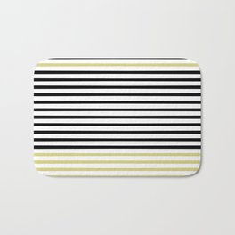 Black and White and Gold Stripes (Striped Pattern) Bath Mat
