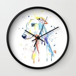 Greyhound Colorful Watercolor Pet Portrait Painting Wall Clock