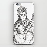 hindu iPhone & iPod Skins featuring Hindu Deity_Saraswati  by The Artful Yogini