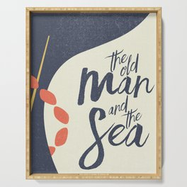 The old Man and the Sea, Ernest Hemingway book cover illustration, adventure novel Serving Tray