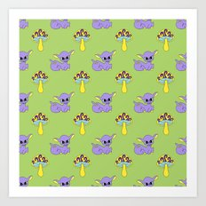 Psychedelic Woodland Lilac Deer Art Print