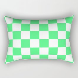 Cheerful Green Checkerboard Pattern Rectangular Pillow