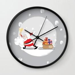 Santa's Mission On Grey Background Wall Clock