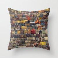 copenhagen Throw Pillows featuring Copenhagen Facades by Siddharth Dasari