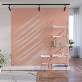 Sweet Life Swipes Peach Coral Shimmer Wall Mural