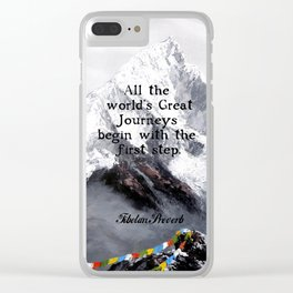 All the world's Great Journeys Motivational Tibetan Proverb With Panoramic View Of Everest Mountain Clear iPhone Case