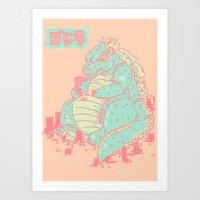 godzilla Art Prints featuring Godzilla by Tapioles II