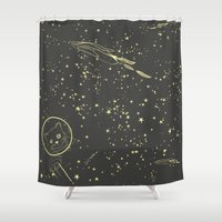 space cat Shower Curtains featuring Space Cat by art3d