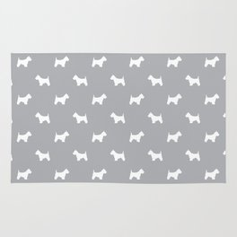 West Highland Terrier dog pattern minimal dog lover gifts grey and white Rug