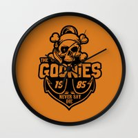 the goonies Wall Clocks featuring The Goonies black by Buby87