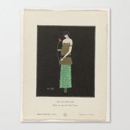 La Gazette du Bon Ton, 1914 - No. 4, Pl 38  The red lily  Evening Gown Paul Poiret, Simone A. Puget Canvas Print