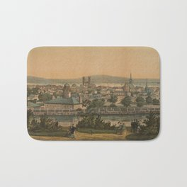 Vintage Pictorial Map of Montreal Canada (1860) Bath Mat