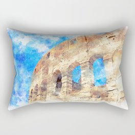 part of the Colosseum, Rome, Italy, summer Rectangular Pillow