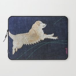 Golden Retriever on Textile by Jackie Wills Laptop Sleeve