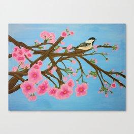 Chickadee on Cherry Tree Canvas Print