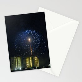 Gulf Shores skyline with fireworks Stationery Cards