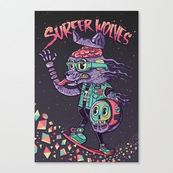 Surfer Wolves Canvas Print