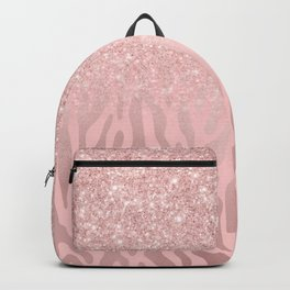 Chic Pink Rose Gold Animal Print Glitter Gradient Backpack