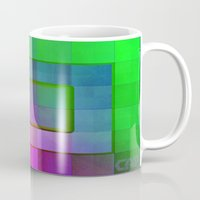 aperture Mugs featuring Aperture #1 Fractal Pleat Texture Colorful Design by CAP Artwork & Design