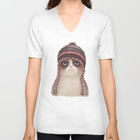 card V-neck T-shirts featuring Christmas Cat by Lime