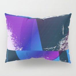 Purple and Cyan Abstract Glitch Collage Pillow Sham