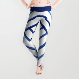 Watercolor lines pattern | Navy blue Leggings