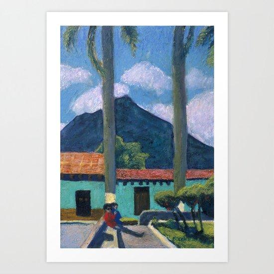 Antigua Park Bench Art Print