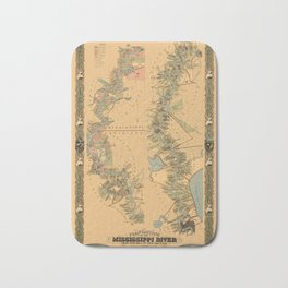 Map of Mississippi River 1858 Bath Mat