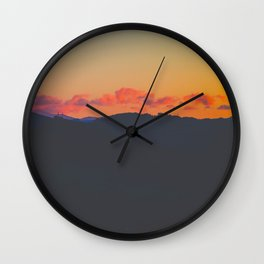 Light Orange Sunset Sky Mountains Landscape Silhouette Wall Clock
