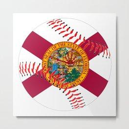 Florida Flag Baseball Metal Print