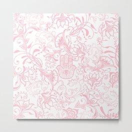 Pastel pink white henna hamsa Hand of Fatima floral mandala Metal Print