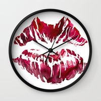 lipstick Wall Clocks featuring Lipstick by D. Renee Wilson