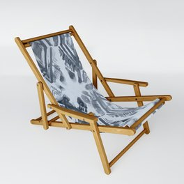 Simply Ikat Ink in Indigo Blue on Sky Blue Sling Chair