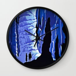 See America blue grotto vintage travel Wall Clock