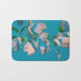 Dogwood Tree Flowers (aqua background) Bath Mat