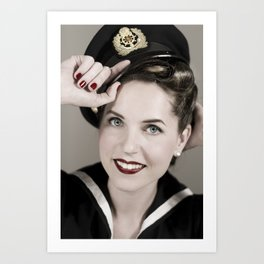 Sailor pin-up Art Print