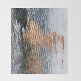 Rose Gold Dream - Abstract Oil Painting Throw Blanket