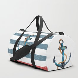 Maritime Design - Nautic Anchor on stripes in blue and red Duffle Bag