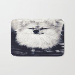 Black and White Pomeranian Bath Mat