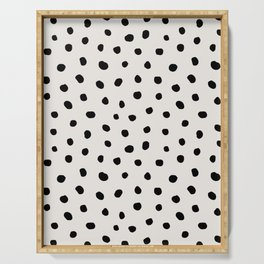 Modern Polka Dots Black on Light Gray Serving Tray