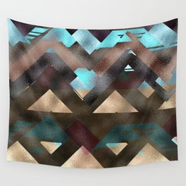 Bronze Brown Blue Burgundy Metal Abstract Mountains Wall Tapestry