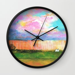 April Showers, Abstract Landscape Wall Clock