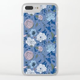 Lovely Seamless Floral Pattern With Subtle Poodles (Hand Drawn) Clear iPhone Case