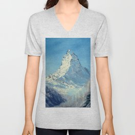 Matterhorn, Mont Cervin - original mountain landscape oil painting Unisex V-Neck