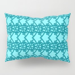 Braided openwork pattern of wire and blue arrows on a light blue background. Pillow Sham
