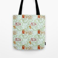 fries Tote Bags featuring PIZZA & FRIES by Josh LaFayette