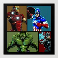 avenger Canvas Prints featuring Avenger Team by Carrillo Art Studio
