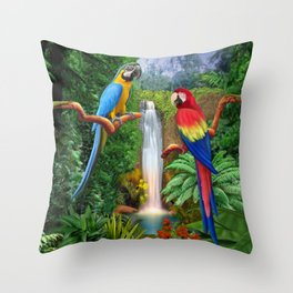 Macaw Tropical Parrots Throw Pillow
