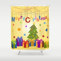 merry christmas Shower Curtains featuring Merry Christmas by itsme.emi